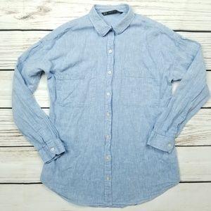Zara Trafaluc Blue Button Down Shirt XS